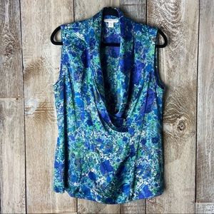 Coldwater Creek Peacock Marbled Cowl Faux Wrap XL